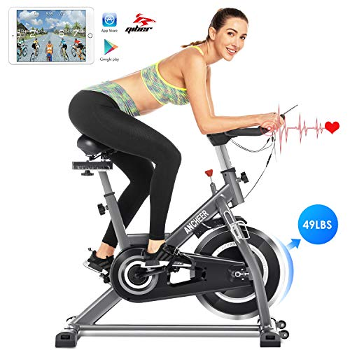 Save %10 Now! ANCHEER Indoor Cycling Bike, Stationary Exercise Bike with Heart Rate Monitor, Comfort...