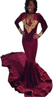 b63facee0c2 Chady Sexy Deep V Neck Burgundy Prom Dress 2019 Black Girls African  Backless Gold Appliques Mermaid