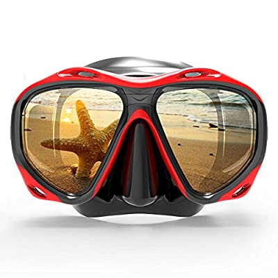 COPOZZ Snorkel Mask, Snorkeling Scuba Dive Glasses, Free Diving Tempered Glass Goggles - Optional Dry Snorkel with Comfortable Mouthpiece (Red)