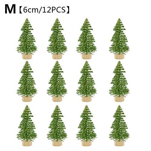 12Pcs Mini Albero di Natale Albero Tessile Abete di Natale con Basi in Legno Miniatura Snow Frost Alberi Micro Paesaggio Paesaggio per Lavoretti Natal
