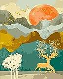 DIY Malen nach Zahlen Sunrise Landscape handgemachte Farbe hochwertige leinwand schöne malerei50x40cm (20x16inch) rahmenlose malerei