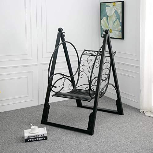 Q-L Volwassen Kinderen Swing Opknoping Schommelstoel Maximaal Bureau Comfort Huis Tuin Metalen Mand Lading 200KG (Color : Black)