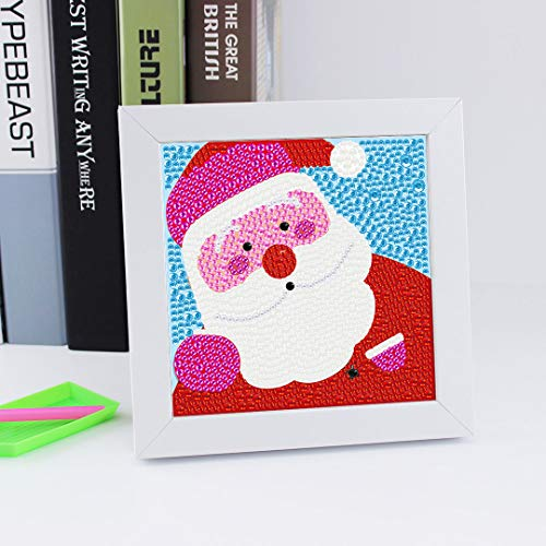 5D Diamond Painting Kits for Kids with White Frame, Easy DIY Diamond Painting for Beginners, Special Shape Diamond Painting, Home Decoration-Santa Claus, 6 x 6 inches