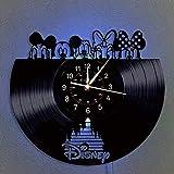 ビニールレコード 掛け時計 ミッキーマウスヴィンテージ時計 LEDハンギングナイトランプ 7色の掛け時計 漫画の時計 ディズニーギフト 誕生日プレゼント 手作りの家 壁の装飾 (D)