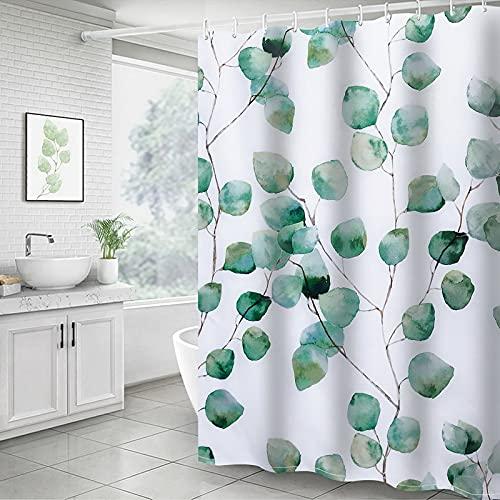 Dihope Duschvorhang Wasserdicht Anti Schimmel Dusch- und Badewannenvorhang Duschvorhang wasserabweisend Metallösen für einfache Aufhängung (Blätter D, 180*200cm)