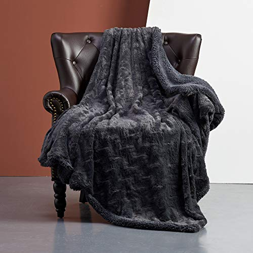 FFLMYUHUL I U Super Soft and Warm Bed Linen Nap Blanket Bedspread Blanket Luxury Throw Blanket Decorative for Bedroom Sofa Floor 50'' X 60'' Blue Black