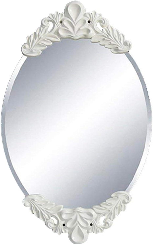 DQMSB Creative Bathroom Mirror European Pastoral Mirror Porch Mirror Wall Hanging Waterproof Bathroom Decorative Oval Mirror (color   White)