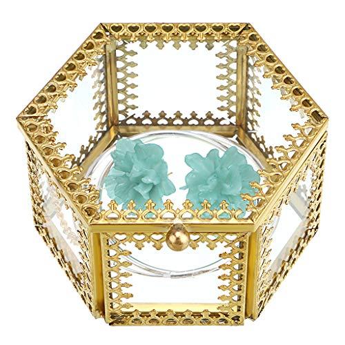 Hipiwe Hexagon Glass Jewelry Trinket Box - Ornate Jewelry Display Organizer Holder Ring Earring Chest Keepsake Box Case Preserved Flower Glass Decorative Box Home Decor Box (Small)
