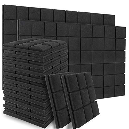 48 Pack Acoustic Foam Sound Proof Padding, 12 X 12 X 2 Inches Thick Soundproofing Studio Foam, High Density Acoustic Foam Panels for Acoustic Treatment and Wall Decoration