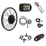 Kit de conversión para bicicleta eléctrica resistente al agua, sin escobillas, motor trasero de 48 V 1000 W, fácil de usar, pantalla LCD5, kit de bicicleta eléctrica