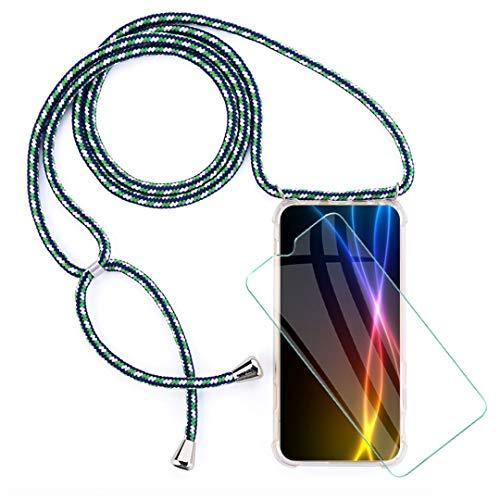 """WenJie Funda + Protector de Pantalla para Xiaomi Redmi GO (5"""") Estuche Protector de TPU Ultrafino, Transparente y Suave con Collar y cordón Ajustable para teléfono Inteligente, Verde + Blanco"""