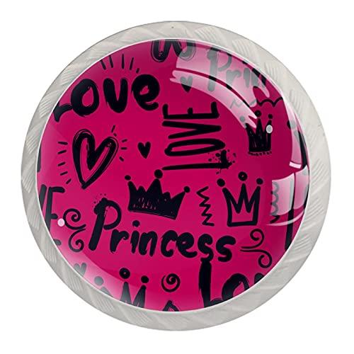 (4 piezas) pomos de cajón para cajones con tiradores de cristal para gabinete, hogar, oficina, armario, princesa, corona rosa, 35 mm