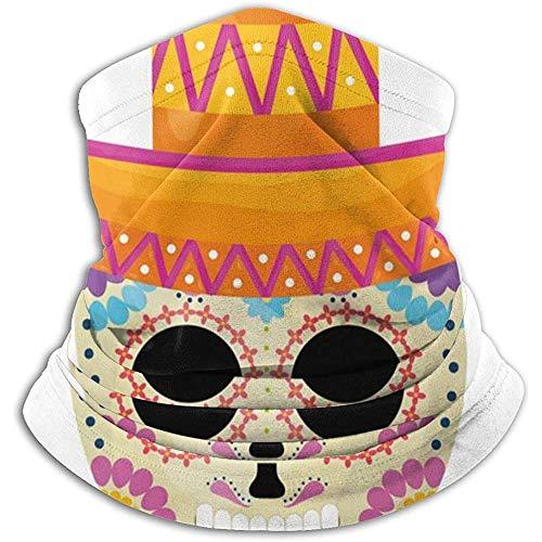 Linger In Mexikanische Schädel-Totenmaske mit Mariachi-Hut Halswärmer Halsmanschette Bandana Sportschal