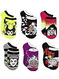 Disney Villains Teen Womens 6 pack Socks (Shoe: 4-10 (Sock: 9-11), Villains Black/Multi)