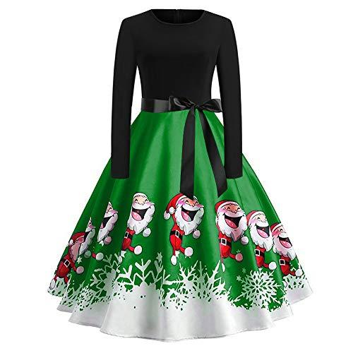 VEMOW Elegantes Design Damen Cocktailkleid Herbst Abendkleid Damen Vintage Kleider Print Langarm Weihnachts Abend Party Swing Kleid 2018(Grün, 38 DE/XL CN)