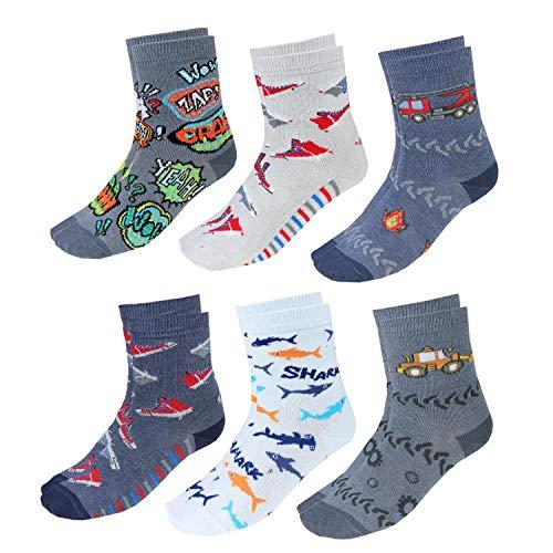 TupTam Kinder Socken Bunt Gemustert 6er Pack für Mädchen und Jungen, Farbe: Junge 4, Socken Größe: 23-26