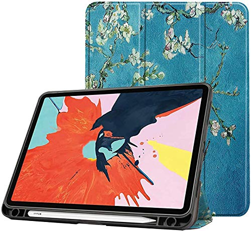 FANG Case for New Ipad Air 4 10.9 Inch 2020 (4Th Generation) with Pencil Holder, Soft TPU Back And Trifold Smart Protective Cover with Auto Sleep/Wake,Apricot blossom