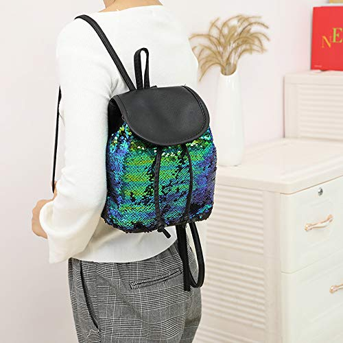 yisi Flip Sequins Mini Backpack Small Backpack Purse for Teen Girls Gift for School (rainbow)
