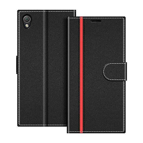 COODIO Handyhülle für Sony Xperia Z3 Handy Hülle, Sony Xperia Z3 Hülle Leder Handytasche für Sony Xperia Z3 Klapphülle Tasche, Schwarz/Rot