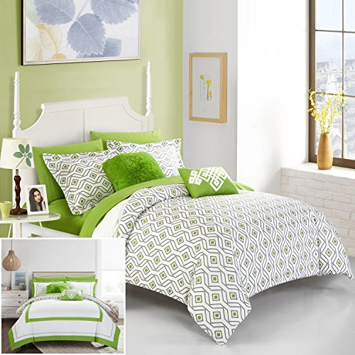 Chic Home 7 Piece Beckham Contemporary geometric reversible Bold Lines hotel collection bed in bag, Green