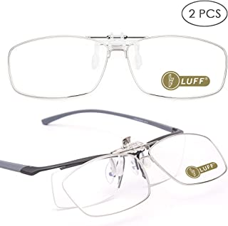 LUFF 2-Pack Anti-Blue Clip On Reading Glasses Can be Flipped up,Clip onto Prescription Glasses Portable Reader Magnifiers Transparent Lens Matrix Full-Frame Style for Myopia Women/Men(2.0X)