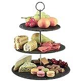 Dimono Etagere Premium Servier-Ständer 3-Etagen; Servier-Tablett aus echten Schiefer-Naturstein für Desserts, Kuchen, Käse, Wurst; 3-stöckig