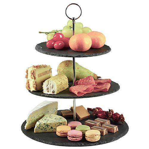 Dimono® Etagere premium stand di servizio a 3 livelli; vassoio di servizio in vera pietra naturale di ardesia per dolci, torte, formaggio, salsiccia; 3 livelli