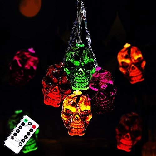 30LEDs Halloween Spooky Lights Halloween Skeleton Skull String Lights Battery Operated Halloween product image