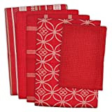 DII Cotton Oversized Kitchen Dish Towels 18 x 28' and Dishcloth 13 x 13', Set of 5 , Absorbent...