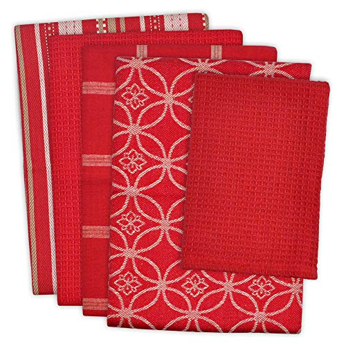 DII Cotton Oversized Kitchen Dish Towels 18 x 28' and Dishcloth 13 x 13', Set of 5 , Absorbent Washing Drying Dishtowels for Everyday Cooking and Baking-Red