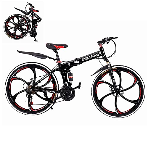 Folding Mountain Bike, 26-inch Outdoor Sports High Carbon Steel MTB Bicycle, Aluminum Wheel Rim, 21-Speed Rear Derailleur, Suitable for Men and Women Cycling Enthusiasts (Red-T01)