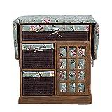 DLT Centro de Madera sólida Retro Tabla de Planchar con 3 Rattan cajón y Cajas de almacenaje del gabinete, Rose Verde Cubierta de algodón, Tabla de Planchar Plegable Pad, Brown