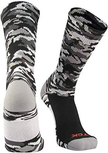 TCK Woodland Camo Crew Socks (Black Camo, Large)
