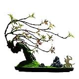 Planta artificial con maceta Inicio Oficina Decoración Artificial Bienvenido Pine Bonsai Decoración de Escritorio Regalo Faux Potted Plant Artificial Tallado Montaña Piedra Árbol artificial para bonsá