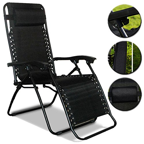 Denny Shop Folding Recliner Cushioned Textoline Beach Chair Sun lounger Bed For Garden And Outdoor Camping by Crystals