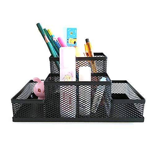HONGLONG Black-Metal-Gitterbox, Bleistift-Box Federhalter, Schreibtisch Briefpapieraufbewahrungsbehälter, nützliches platzsparende Home-Office