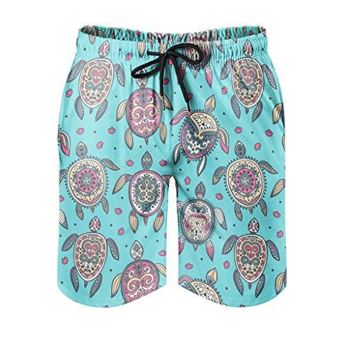 None Brand - Traje de baño para hombre, diseño de tortuga marina, estampado a la moda, con 2 bolsillos laterales Blanco blanco M