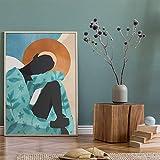 F1 carNordic INS Art Simple Creativo Abstracto Lonely Girl Lienzo Art Poster Mural Sala de Estar Lienzo Pintura al óleo Decoración del hogar 40X55CM