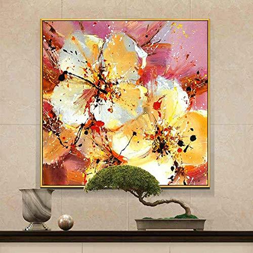 tzxdbh 100% Handgemalte Abstrakte Blumen Kunst Ölgemälde Auf Leinwand Wandkunst Wandschmuck Bilder Malerei Für Live Room Home Decor-in von (70X70 cm) 28X28 Zoll Mit Rahmen