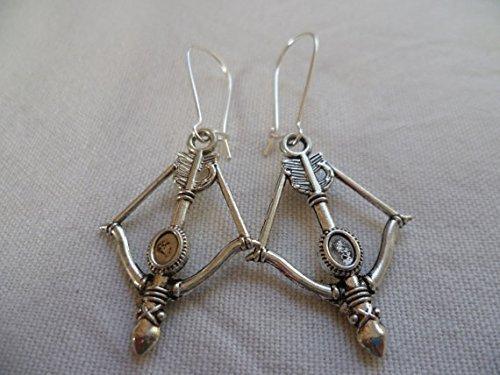 Armbrust-Ohrringe, Pfeil- und Bogen-Ohrringe, Pfeil-Ohrringe, Jäger, Bogen-Ohrringe, Silber-Armbrust, Amor, Armbrust-Schmuck, Tropfen-Ohrringe.