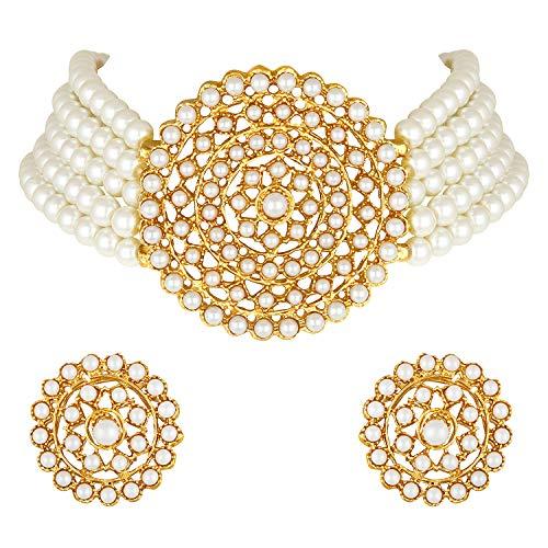 Aheli Gargantilla de diamantes de perlas con pendientes redondos para mujeres y niñas, juego de joyería tradicional indio Bollywood blanco
