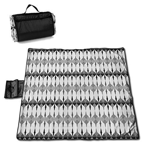 Singledog Picknickdecke Graues altes nordisch verbundenes Motiv mit Dreiecken Picknickdecke für handliche Matten-Tasche 145X150CM im Freien