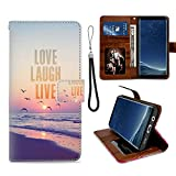 Love Laugh Live Samsung Galaxy S8 Plus Wallet Case for Kickstand PU Leather Card Slot Magnetic Flip Wristlet Phone Cover Samsung Galaxy S8 Plus Case Love Laugh Live
