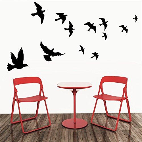Annong DIY Stickers Sticker Mural Autocollants Décoration Bébe Chambre Déco (Noir: Oiseaux 44*42)