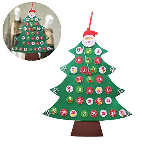 Creamon Calendario de Adviento de Fieltro para Navidad, Calendario de adviento de Navidad de 24 a 31 días para Colgar en la Pared, Calendario de árbol para Decoraciones de Navidad