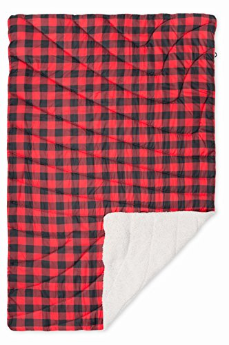 Rumpl The Sherpa Printed Puffy Blanket | Ultra Soft Warm Outdoor Fleece Sherpa Blanket for Camping, Picnics, Traveling, Concerts | Red Buffalo Plaid, Throw