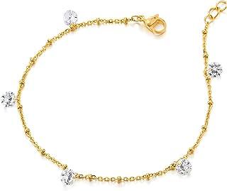 Zircone Cubique et Grelot COOLSTEELANDBEYOND Acier Couleur dor Femme Bracelets de Cheville avec Charms Croix