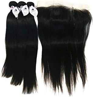 10A Grade Brazilian Straight Hair Bundles with 13×4 Ear to Ear Lace Frontal 100% Unprocessed Virgin Human Hair (20 22 24 with 20 Frontal)