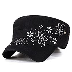 Crystal Gemstone Stud Flower Vintage Black Cotton Cadet Cap