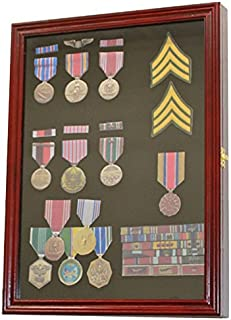 Display Case Wall Frame Cabinet for Military Medals, Pins, Patches, Insignia, Ribbons, Brooches